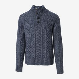 Fisherman Mock Neck Sweater, 1018552 Navy, blockout