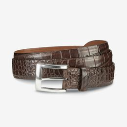 American Alligator Dress Belt, 34807 Brown American Alligator Leather, blockout
