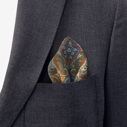 Paisley Print Pocket Square, 1017495 Taupe, blockout