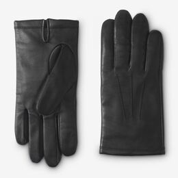 Cashmere Lined Leather Tech Gloves, 1016361 Black, blockout