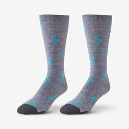 Flamingo Pattern Soft Touch Poly-Tencel Dress Socks, 1017591 Grey/Teal, blockout