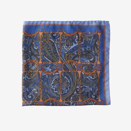 Equestrian Print Pocket Square, 1017493 Blue, blockout