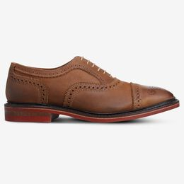 Strandmok Cap-Toe Oxford with Dainite Rubber Sole, 4028 Tan with Red Sole, blockout