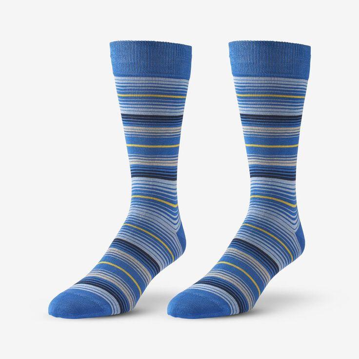 Cotton Blend Pattern Dress Sock, 1017538 Blue Stripe, blockout