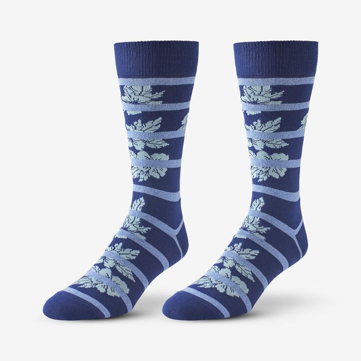 Cotton Blend Pattern Dress Sock, 1017532 Blue Hibiscus Stripe, blockout