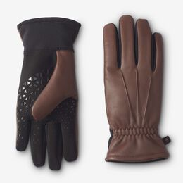 Stretch Palm Leather Tech Gloves, 1016365 Saddle Brown, blockout