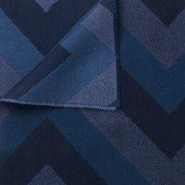 Chevron Merino Wool Scarf, 1018480 Indigo Denim, blockout