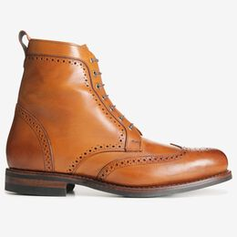 Dalton Wingtip Dress Boots with Dainite Rubber Sole, 1116 Walnut, blockout