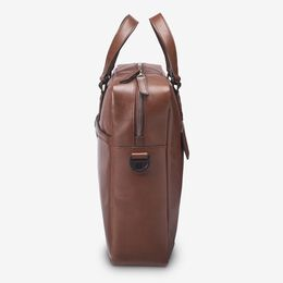 Brown Fulton Slim Leather Briefcase, 1016610 Brown, blockout