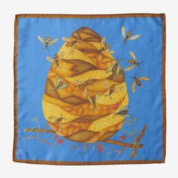 Honey Bee Pocket Square, 1017494 Yellow, blockout