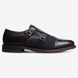 St. Johns Wool Double Monk Strap, 4242 Charcoal Wool/Mahogany Leather, blockout
