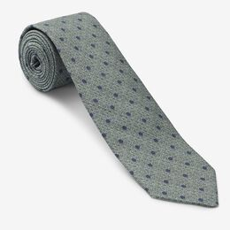 Dot Print Crosshatch Silk Tie, 1017481 Olive, blockout