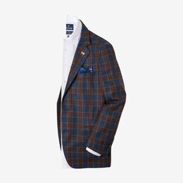 Clifton Wool Plaid Sport Coat by Southwick, 1016759 Navy Plaid, blockout