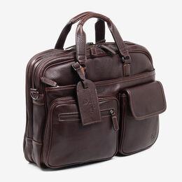 American Grain Collection - Multi Pocket Briefcase, 204-BC Dark Brown, blockout