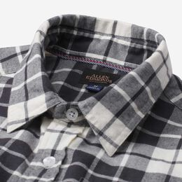 Plaid Cotton Work Shirt, 1016550 Black and White, blockout