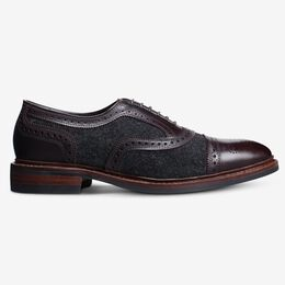 Strandmok Wool Cap-Toe Oxford with Dainite Rubber Sole, 3973 Charcoal Wool/Mahogany Leather, blockout