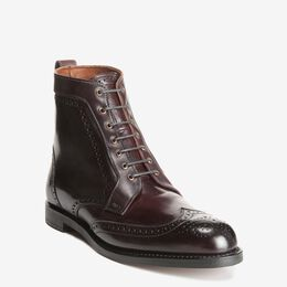 Dalton Shell Cordovan Dress Boots, 0181 Burgundy, blockout