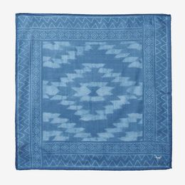 Indigo Batik Print Pocket Square, 1017487 Blue, blockout