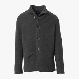 Wool Knit Blazer, 1018404 Charcoal, blockout