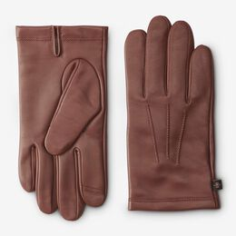 Cashmere Lined Leather Tech Gloves, 1016362 Saddle Brown, blockout