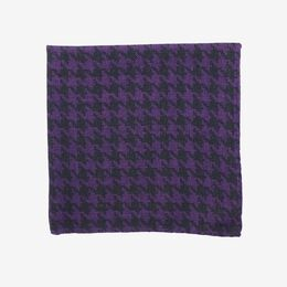 Houndstooth Italian Wool Reversible Pocket Square, 1016946 Blackberry Houndstooth, blockout