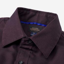 Herringbone Cotton Sport Shirt, 1016554 Burgundy, blockout