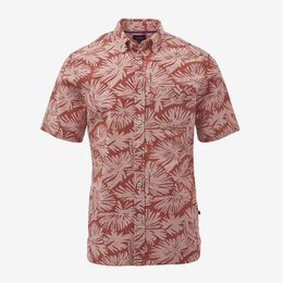 Leaf Print Short Sleeve Shirt, 1017460 Lobster Bisque, blockout