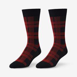 Mid-Calf Pattern Knit Dress Sock, 1016434 Red Buffalo Plaid, blockout
