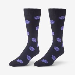 Cotton Blend Pattern Dress Sock, 1017541 Black Rose, blockout