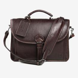 American Grain Collection - Slim Briefcase, 85-BC Dark Brown, blockout
