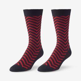 Mid-Calf Pattern Knit Dress Sock, 1016436 Red Zig Zag, blockout