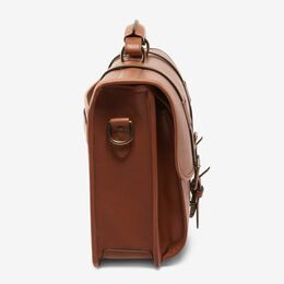 Saddle Leather Collection - Double Flap Briefcase, 96202A Tan Saddle Leather, blockout