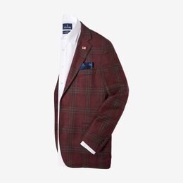Quincy Wool Plaid Sport Coat by Southwick, 1016760 Burgundy Plaid, blockout