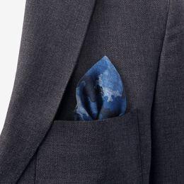 Italian Wool Reversible Pocket Square, 1016947 Blue/Navy Camo Print, blockout
