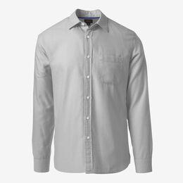 Herringbone Cotton Sport Shirt, 1016555 Silver, blockout