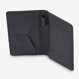 Leather Passport Holder, 1017426 Black Pebble Grain, blockout