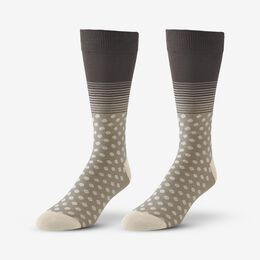 Cotton Blend Pattern Dress Sock, 1017540 Khaki Dot & Stripe, blockout