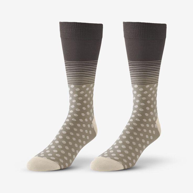 Cotton Blend Pattern Dress Sock, 1017540 Khaki Dot & Stripe, blockout