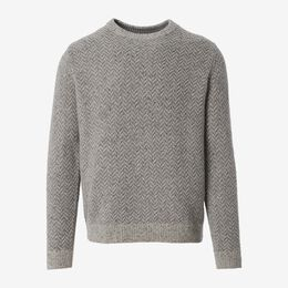 Zermatt Herringbone Crew Neck Sweater, 1018573 Grey, blockout