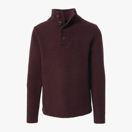 Seed Stitch Military Sweater, 1018554 Burgundy, blockout