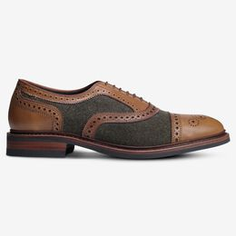 Strandmok Wool Cap-Toe Oxford with Dainite Rubber Sole, 3972 Olive Wool/Walnut Leather, blockout