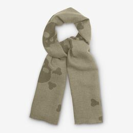 Double-Sided Merino Wool Scarf, 1016816 Oatmeal Houndstooth, blockout