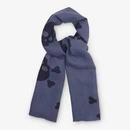Double-Sided Merino Wool Scarf, 1017055 Navy Houndstooth, blockout