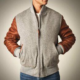 Zip Up Varsity Jacket by Golden Bear, 1018363 Grey, blockout