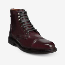 Landon Shell Cordovan Cap-Toe Dress Boot, 4492 Burgundy / Black Welt & Edge, blockout
