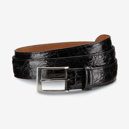 Caiman Crocodile Dress Belt, 34701 Black Crocodile Leather, blockout