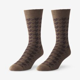 Mid-Calf Pattern Knit Dress Sock, 1016428 Brown Houndstooth, blockout