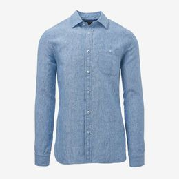 Linen Long Sleeve Shirt, 1017459 Blue, blockout