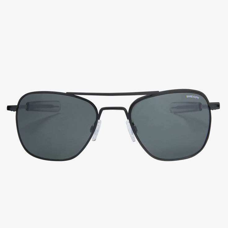 Aviator 55MM Matte Black Grey Glass Sunglasses by Randolph Engineering, 1015120 Black, blockout