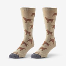 Dog Pattern Merino Cool™ Dress Socks, 1017594 Khaki, blockout